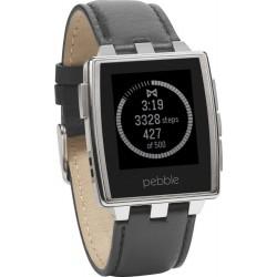 Pebble Steel Smartwatch, con Cassa Acciaio e Cinturino Pelle - Argento/Acciaio