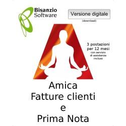 Amica - Fatture Clienti e Prima Nota (3 postazaioni - 12 mesi - ESD - Versione digitale)