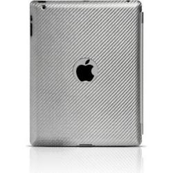 Custodia True-Carbon in Vero Carbonio Vintage per iPad 2 con Foro - Argento