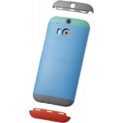 Custodia Rigida HTC per One M8, Azzurro/grigio + clip verde