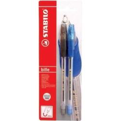 Penna a sfera a con tapppo Bille 508 di Stabilo (Confezione da 2 pz) - Blu + Nero