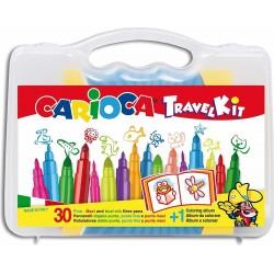 Valigetta Carioca con colori in plastica con materiale per colorare, Album incluso - 30 pezzi