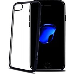 Celly Bumper Custodia Morbida per iPhone 7, Bordo con Effetto Metal, Nero Lucido